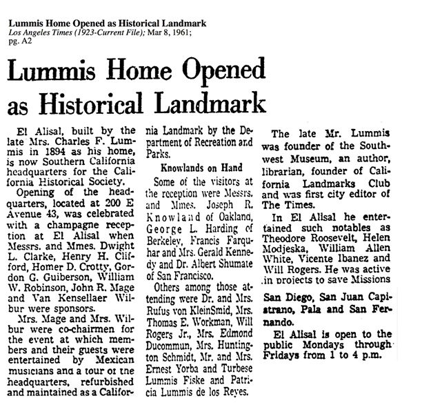 "The Opening of Charles Lummis' Home (""El Alisal"") to The Public"